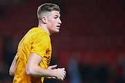 Hull City defender Reece Burke (5) warms up prior to the EFL Sky Bet Championship match between Charlton Athletic and Hull City at The Valley, London, England on 13 December 2019.