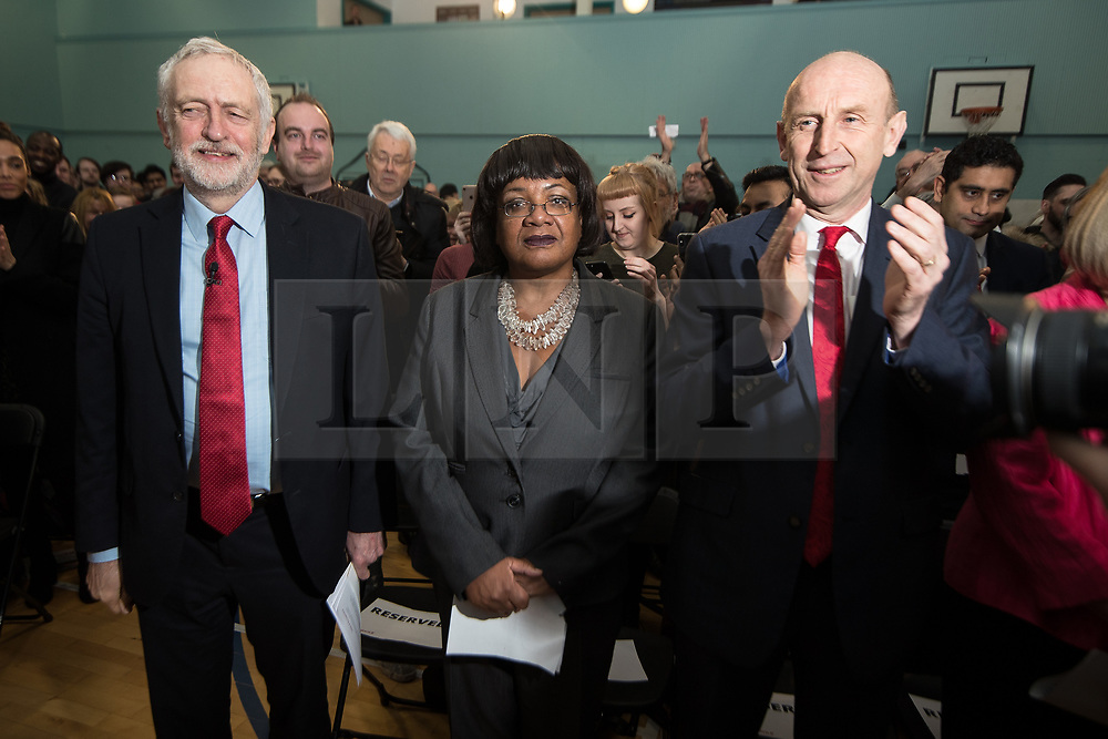 © Licensed to London News Pictures . 22/03/2018. Manchester, UK. JEREMY CORBYN , DIANE ABBOTT and JOHN HEALEY . Jeremy Corbyn and Shadow Cabinet members launch the Labour Party's local election campaign at Stretford Sports Village in Trafford . Photo credit: Joel Goodman/LNP