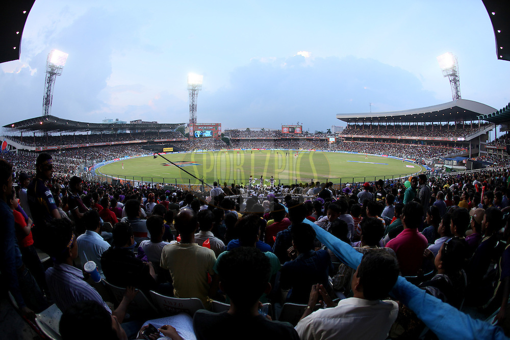 Field from gallery during the first qualifier match (QF1) of the Pepsi Indian Premier League Season 2014 between the Kings XI Punjab and the Kolkata Knight Riders held at the Eden Gardens Cricket Stadium, Kolkata, India on the 28th May  2014<br /> <br /> Photo by Saikat Das / IPL / SPORTZPICS<br /> <br /> <br /> <br /> Image use subject to terms and conditions which can be found here:  http://sportzpics.photoshelter.com/gallery/Pepsi-IPL-Image-terms-and-conditions/G00004VW1IVJ.gB0/C0000TScjhBM6ikg