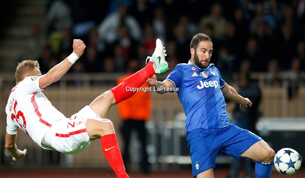 Photo LaPresse - Spada<br /> May 03 , 2017  , Monaco <br /> Sport Soccer<br /> Monaco - Juventus <br /> Champions League 2016 2017 <br /> In the pic: Higuain gol 0-2
