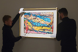 "Bonhams, Mayfair, London. Gallery technicians hang Frank Auerbach's ""E.O.W. on Her Blue Eiderdown"" estimated to be worth between £1-1.5 million, to be auctioned at Bonhams post-war and Contemporary art sale. ///FOR LICENCING CONTACT: paul@pauldaveycreative.co.uk TEL:+44 (0) 7966 016 296 or +44 (0) 20 8969 6875. ©2015 Paul R Davey. All rights reserved."