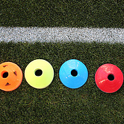 Football training aids on the side of the pitch for training before the New York Red Bulls V Houston Dynamo, Major League Soccer regular season match at Red Bull Arena, Harrison, New Jersey. USA. 23rd April 2014. Photo Tim Clayton