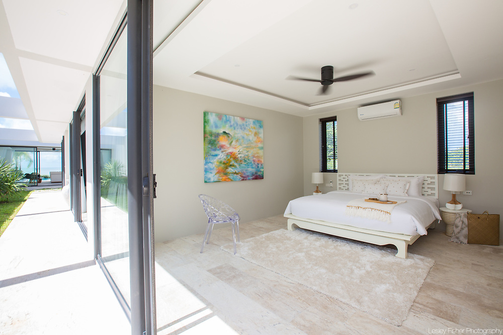 Bedroom at Villa Song, a 2 bedroom beach front villa located in Plai Laem, Koh Samui, Thailand