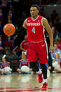 DALLAS, TX - JANUARY 21: Myles Mack #4 of the Rutgers Scarlet Knights brings the ball up court against the SMU Mustangs on January 21, 2014 at Moody Coliseum in Dallas, Texas.  (Photo by Cooper Neill/Getty Images) *** Local Caption *** Myles Mack