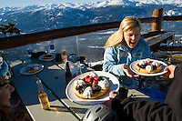 Waffles are a delicious specialty of the Crystal Hut restaurant on Blackcomb Mountain in Whistler, BC Canada