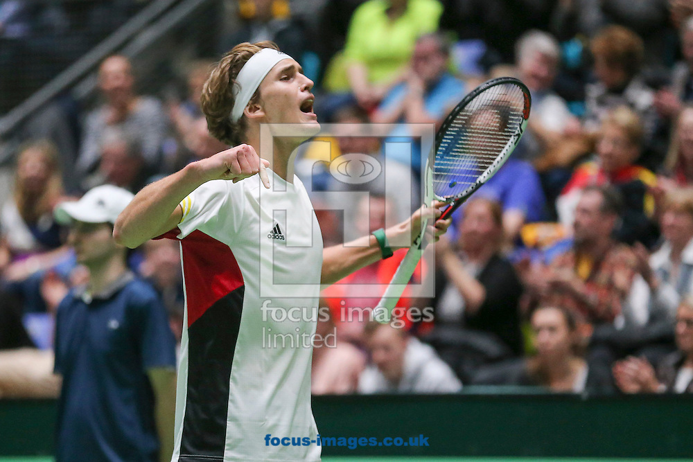 Alexander Zverev of Germany during the world group first round 2017 Davis Cup match between Germany and Belgium in the Fraport Arena, Frankfurt, Germany.<br /> Picture by EXPA Pictures/Focus Images Ltd 07814482222<br /> 05/02/2017<br /> *** UK &amp; IRELAND ONLY ***<br /> <br /> EXPA-EIB-170205-0226.jpg