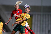 Fifa Womans World Cup Canada 2015 - Preview //<br /> Cyprus Cup 2015 Tournament ( Gsp Stadium Nicosia - Cyprus ) - <br /> Australia vs England 0-3   //  Katie Chapman of England (L) , challenges with Stephanie Catley of Australia (R)