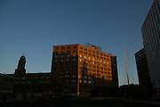 Sibley Square, center, in Rochester, New York on Tuesday, October 4, 2016. Formerly home to Sibley's department store, the 1-million square foot building is being renovated by WinnCompanies to house apartments, commercial space, and retail space. At right is the Liberty Pole, one of Rochester's most recognizable landmarks, originally erected in the mid-19th century.