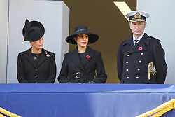 © Licensed to London News Pictures. 10/11/2019. London, UK. Sophie, Countess of Wessex, Meghan, Duchess of Sussex  and Tim Laurence attend the Remembrance Sunday ceremony at the Cenotaph memorial in Whitehall, central London. Remembrance Sunday is held each year to commemorate the service men and women who fought in past military conflicts. Photo credit: Dinendra Haria/LNP
