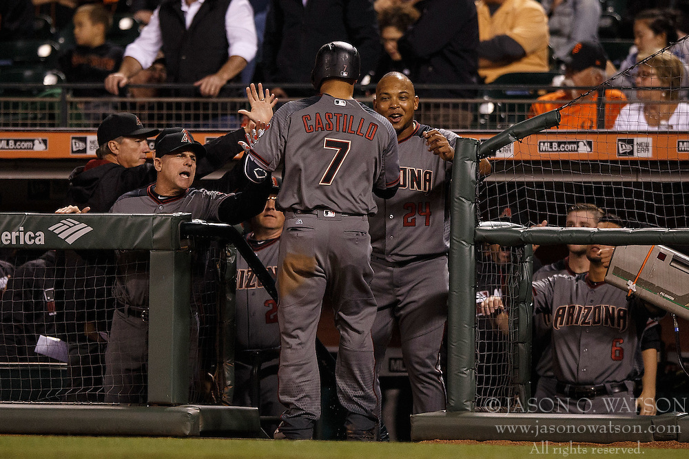 SAN FRANCISCO, CA - APRIL 18: Welington Castillo #7 of the Arizona Diamondbacks is congratulated by teammates after hitting a home run against the San Francisco Giants during the fourth inning at AT&T Park on April 18, 2016 in San Francisco, California. The Arizona Diamondbacks defeated the San Francisco Giants 9-7 in 11 innings.  (Photo by Jason O. Watson/Getty Images) *** Local Caption *** Welington Castillo