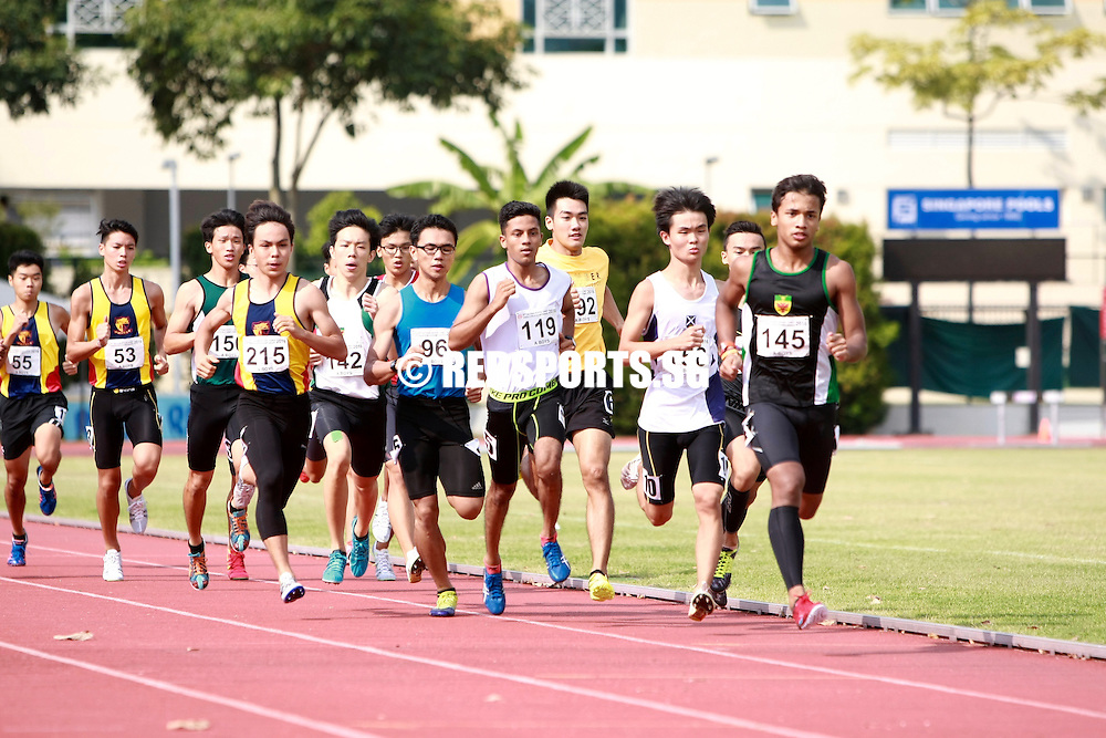 Bishan Stadium, Friday, April 22, 2016 &mdash; After trailing for most of the race, Mark Llewellyn Lim of Raffles Institution (RI) pulled off a devastating kick on the home stretch to snatch the A Division Boys' 800 metres gold at the 57th National Schools Track and Field Championships, clocking 2 minutes 3.74 seconds.<br />