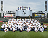 CHICAGO - AUGUST 09: The Chicago White Sox pose for their 2017 official team photo on August 9, 2106 at Guaranteed Rate Field in Chicago, Illinois.  FIRST ROW:  Batboys  SECOND ROW:  Assistant Trainer Brian Ball, Head Trainer Herm Schneider, Bullpen Catcher Mark Salas, First Base Coach Daryl Boston, Assistant Hitting Coach Greg Sparks,  Hitting Coach Todd Steverson, Manager Rick Renteria, General Manager Rick Hahn, Pitching Coach Don Cooper, Bench Coach Joe McEwing, Third Base Coach Nick Capra, Bullpen Coach Curt Hasler, Coach Ever Magallanes, Director of Conditioning Allen Thomas  THIRD ROW:  Baseball Video Coordinator Bryan Johnson, White Sox Assistant Clubhouse Manager Tom Bafia, Physical Therapist Brett Walker,  Umpire Clubhouse Manager Joe McNamara Jr., Visiting Clubhouse Manager Jason Gilliam, White Sox Clubhouse Manager Rob Warren, Geovany Soto, Leury Garcia, Omar Narvaez, Yolmer Sanchez, Pre-Game Instructor Mike Kashirsky, Pre-Game Instructor Luis Sierra, Pre-Game Instructor Adam Ricks, Director of Team Travel Ed Cassin  FOURTH ROW:  Tim Anderson, Avisail Garcia, Adam Engel, Nicky Delmonico,  Matt Davidson, Yoan Moncada, Jose Abreu, Derek Holland, Kevan Smith, Tyler Saladino, Alen Hanson  FIFTH ROW:  James Shields, Chris Beck, Carlos Rodon, Juan Minaya, Brad Goldberg, Mike Pelfrey, Jake Petricka,Tyler Clippard, David Holmberg, Aaron Bummer, Gregory Infante, Miguel Gonzalez  NOT PICTURED:  Willy Garcia, Dylan Covey, Nate Jones, Zach Putnam, Charlie Tilson (Disabled List)  (Photo by Ron Vesely)