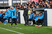Forest Green Rovers assistant manager, Scott Lindsey gives instructions during the Vanarama National League match between Macclesfield Town and Forest Green Rovers at Moss Rose, Macclesfield, United Kingdom on 12 November 2016. Photo by Shane Healey.