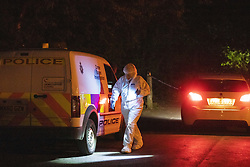 © Licensed to London News Pictures. 25/05/2020. Brinnington, UK. Police have sealed off several areas of Brinnington Vale , near Stockport , adjacent to flats and houses , after reports a woman is missing and after several body parts were found in bin liners at different locations . Photo credit: Joel Goodman/LNP