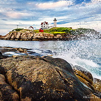 The Nubble Lighthouse post card. <br /> <br /> Post card is 4.25 x 6.<br /> Designed and printed in NH on FSC Recycled Paper.