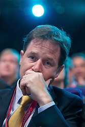 © Licensed to London News Pictures . 07/10/2014 . Glasgow , UK . Deputy Prime Minister and party leader , NICK CLEGG , at the conference . The Liberal Democrat Party Conference 2014 at the Scottish Exhibition and Conference Centre in Glasgow . Photo credit : Joel Goodman/LNP