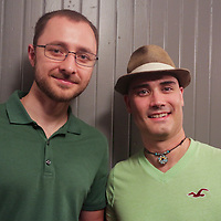 Alex Smolich, left, and Newlin Parker pose for a photo during the Green Party Sunday September 7, 2014 at City Stage Co. (Jason A. Frizzelle)