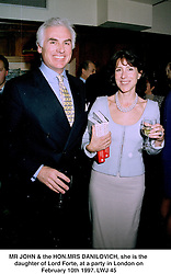 MR JOHN & the HON.MRS DANILOVICH, she is the daughter of Lord Forte, at a party in London on February 10th 1997.LWJ 45