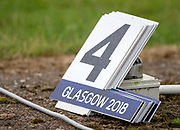 "Glasgow, Scotland, ""2nd August 2018"", ""Spare Bow Numbers, to replacelost No.'s when the boat line up for the sttart of their races, European Games, Rowing, Strathclyde Park, North Lanarkshire, © Peter SPURRIER/Alamy Live News"
