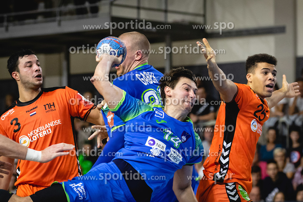Sebastian Skube of Slovenia during friendly handball match between Slovenia and Nederland, on October 25, 2019 in Športna dvorana Hardek, Ormož, Slovenia. Photo by Blaž Weindorfer / Sportida