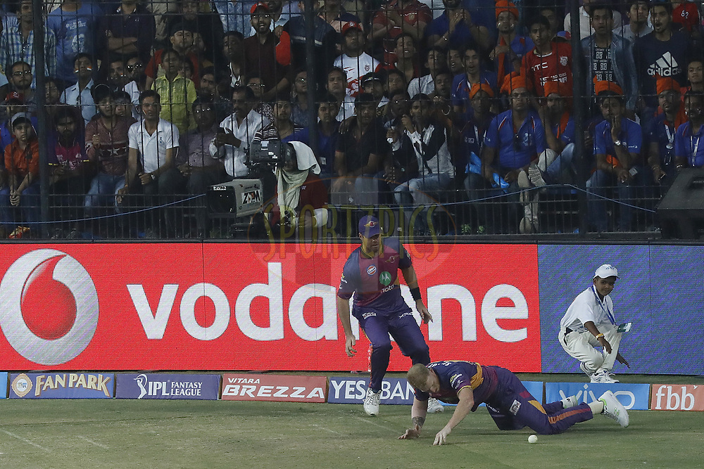 Ben Stokes of Rising Pune Supergiant save boundery during match 4 of the Vivo 2017 Indian Premier League between the Kings X1 Punjab and the rising Pune Supergiant held at the Holkar Cricket Stadium in Indore, India on the 8th April 2017<br /> <br /> Photo by Arjun Singh - IPL - Sportzpics