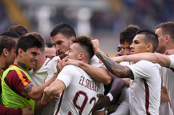 VERONA, May 21, 2017  Roma's Stephan El Sharaawy (C) celebrates after he scores team's third goal during a Serie A soccer match against Chievo Verona in Verona, Italy, May 20, 2017. Roma won 5-3. (Credit Image: © Alberto Lingria/Xinhua via ZUMA Wire)