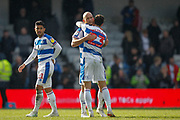 Queens Park Rangers midfielder Massimo Luongo (21), Queens Park Rangers defender Toni Leistner (37) and Queens Park Rangers midfielder Pawel Wszolek (23) after the EFL Sky Bet Championship match between Queens Park Rangers and Swansea City at the Loftus Road Stadium, London, England on 13 April 2019.
