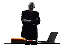 One Caucasian Senior Business Man standing arms crossed smiling Silhouette White Background