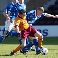Motherwell v St Johnstone   06.04.02<br />James McFadden and Darren Dods<br /><br />Pic by Graeme Hart<br />Copyright Perthshire Picture Agency<br />Tel: 01738 623350 / 07990 594431