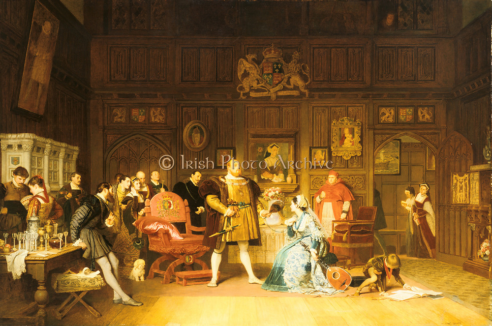 Marcus Stone (1840-1921) British history painter. 'Henry VIII and Anne Boleyn Observed by Queen Catherine' (Catherine of Aragon) , in doorway, whose portrait is on wall behind them. Anne has been playing the lute for the king watched by a gathering of courtiers . Cardinal Wolsey, right of centre, looks on.  The little dog, traditionally symbolising fidelity, is an ironic touch.  Oil on canvas. 1870. Private collection