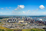 Nederland, Noord-Holland, IJmuiden, 01-08-2016; Velsen-Noord, terrein van Tata Steel met Oxystaalfabriek (li) en twee hoogovens.<br /> Tata Steel industrial site, steel works.<br /> <br /> luchtfoto (toeslag op standard tarieven);<br /> aerial photo (additional fee required);<br /> copyright foto/photo Siebe Swar