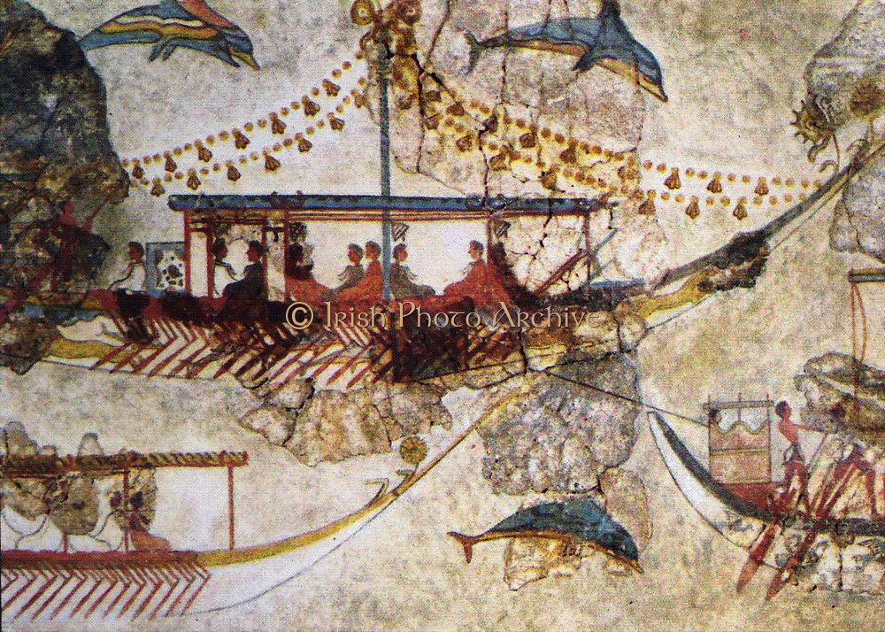 Minoans Traders:  wall painting from Acrotiri in Thera (Santorini) showing Minoan ships.  Bronze Age (3200-1050 BC). The exchange of products with distant countries was served by the well-organized shipping and the foundation of commercial stations in significant ports in the Mediterranean.