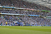Brighton players celebrate opening goal during the Sky Bet Championship play-off second leg match between Brighton and Hove Albion and Sheffield Wednesday at the American Express Community Stadium, Brighton and Hove, England on 16 May 2016. Photo by Phil Duncan.