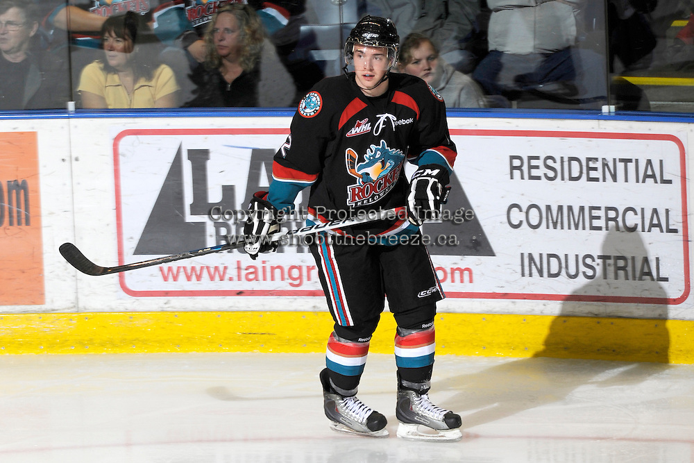 KELOWNA, CANADA, OCTOBER 5: Jesse Lees #2 of the Kelowna Rockets skates on the ice against the Tri City Americans on October 5, 2011 at Prospera Place in Kelowna, British Columbia, Canada (Photo by Marissa Baecker/shootthebreeze.ca) *** Local Caption ***Jesse Lees;