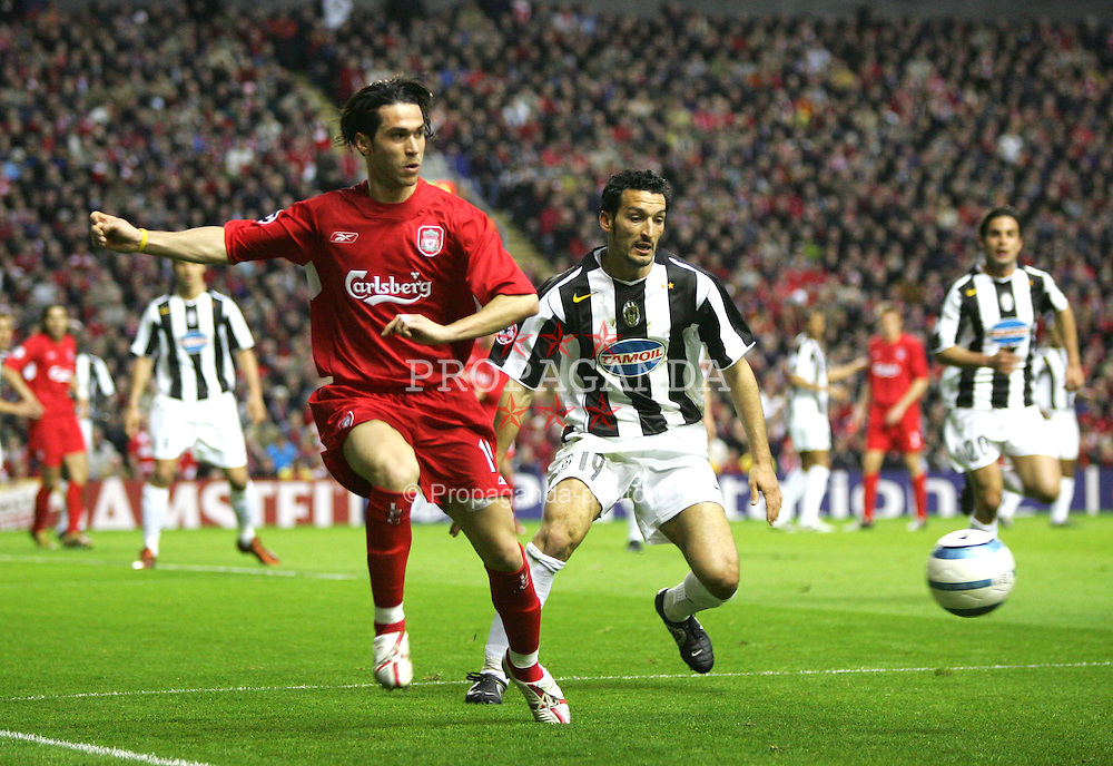 LIVERPOOL, ENGLAND - TUESDAY APRIL 5th 2005:  Liverpool's Luis Garcia in action against Juventus during the UEFA Champions League Quarter Final 1st Leg match at Anfield. (Pic by David Rawcliffe/Propaganda)