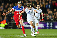 Morgan Brian of USA Women (left) chases down Fran Kirby of England Women (right) during the International Friendly match at stadium:mk, Milton Keynes<br /> Picture by David Horn/Focus Images Ltd +44 7545 970036<br /> 13/02/2015