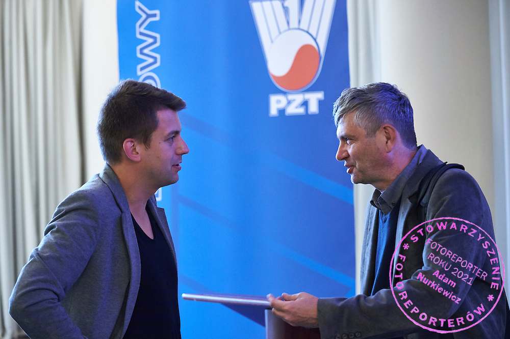 (L) Marcin Hertel and (R) Dariusz Lukaszewski, vicepresident of Polish Tennis Association while the General Assembly of Delegates of the Polish Tennis Association at Torwar Hall in Warsaw on June 23, 2015.<br /> <br /> Poland, Warsaw, June 23, 2015.<br /> <br /> Picture also available in RAW (NEF) or TIFF format on special request.<br /> <br /> For editorial use only. Any commercial or promotional use requires permission.<br /> Adam Nurkiewicz declares that he has no rights to the image of people at the photographs of his authorship.<br /> Mandatory credit:<br /> Photo by &copy; Adam Nurkiewicz / Mediasport