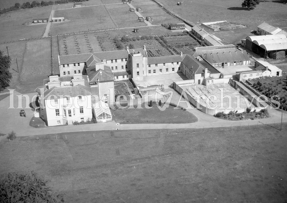 A376 St Martha's, Navan.   14/12/56. (Part of the Independent Newspapers Ireland/NLI collection.)<br /> <br /> These aerial views of Ireland from the Morgan Collection were taken during the mid-1950's, comprising medium and low altitude black-and-white birds-eye views of places and events, many of which were commissioned by clients. From 1951 to 1958 a different aerial picture was published each Friday in the Irish Independent in a series called, 'Views from the Air'.The photographer was Alexander 'Monkey' Campbell Morgan (1919-1958). Born in London and part of the Royal Artillery Air Corps, on leaving the army he started Aerophotos in Ireland. He was killed when, on business, his plane crashed flying from Shannon.