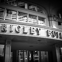 Chicago Wrlgley Building sign in Chicago. The Wrigley Building is a Chicago skyscraper on Michigan Avenue and was built in 1920 by the Wrigley gum company.
