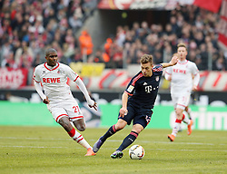 19.03.2016, Rhein Energie Stadion, Koeln, GER, 1. FBL, 1. FC Koeln vs FC Bayern Muenchen, 27. Runde, im Bild vl. Anthony Modeste (Koeln, #27), Joshua Kimmich (Muenchen, #32) // during the German Bundesliga 27th round match between 1. FC Cologne and FC Bayern Munich at the Rhein Energie Stadion in Koeln, Germany on 2016/03/19. EXPA Pictures © 2016, PhotoCredit: EXPA/ Eibner-Pressefoto/ Horn<br /> <br /> *****ATTENTION - OUT of GER*****