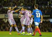 Reading players celebrate Nick Blackman's goal during the Capital One Cup match between Portsmouth and Reading at Fratton Park, Portsmouth, England on 25 August 2015. Photo by Adam Rivers.