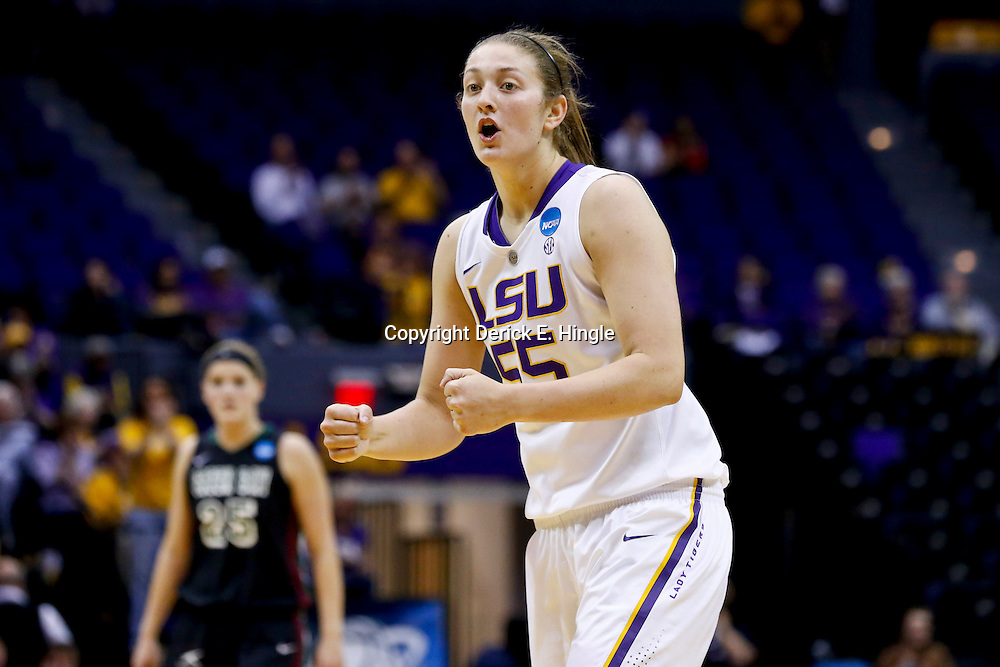 Mar 24, 2013; Baton Rouge, LA, USA; LSU Tigers forward Theresa Plaisance (55) reacts in the first half of the first round of the 2013 NCAA womens basketball tournament game against the Green Bay Phoenix at the Pete Maravich Assembly Center.  Mandatory Credit: Derick E. Hingle-USA TODAY Sports