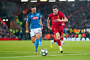 Liverpool midfielder James Milner (7) and Napoli defender Nikola Maksimovic (19) in action during the Champions League match between Liverpool and Napoli at Anfield, Liverpool, England on 27 November 2019.