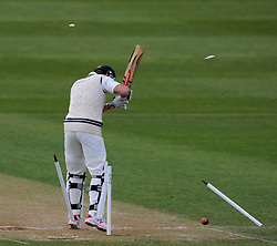 Middlesex's Nick Compton is bowled by Somerset's Lewis Gregory. - Photo mandatory by-line: Harry Trump/JMP - Mobile: 07966 386802 - 29/04/15 - SPORT - CRICKET - LVCC Division One - County Championship - Somerset v Middlesex - Day 4 - The County Ground, Taunton, England.