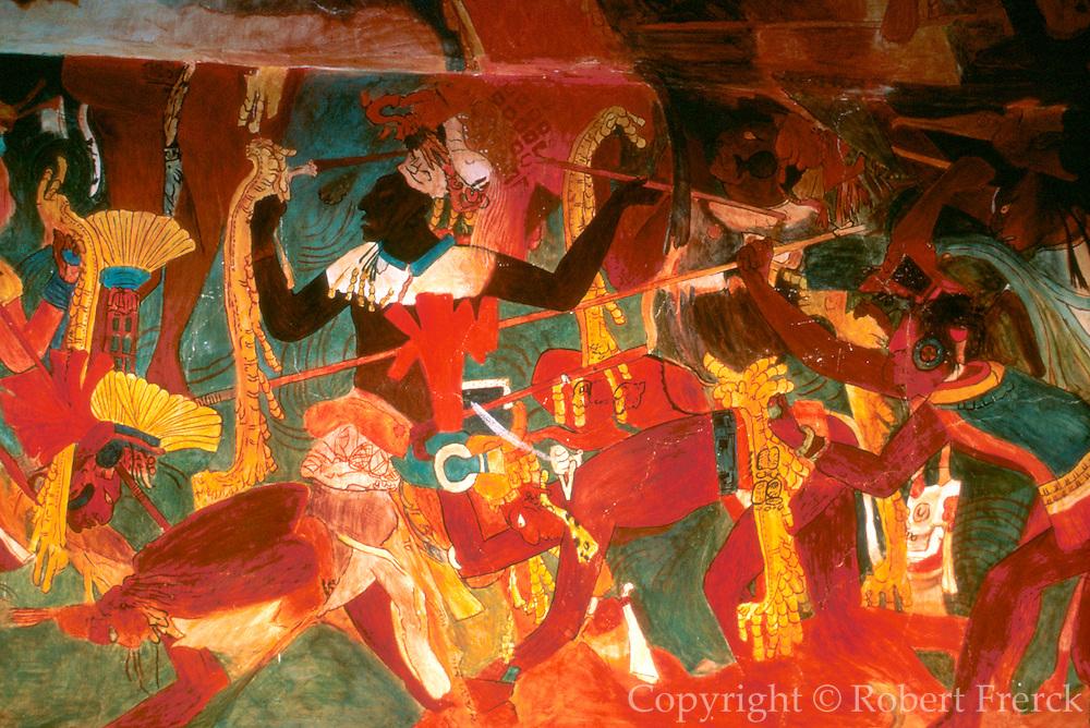MEXICO, MAYAN, CHIAPAS Bonampak; mural of violent conflict
