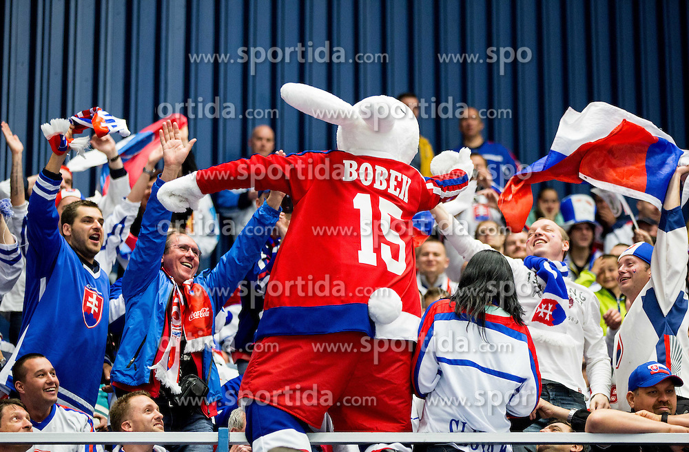 Fans with mascot Bobek during Ice Hockey match between Slovakia and Norway at Day 6 in Group B of 2015 IIHF World Championship, on May 6, 2015 in CEZ Arena, Ostrava, Czech Republic. Photo by Vid Ponikvar / Sportida