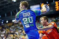 Tilen Kodrin of Slovenia during handball match between National teams of Slovenia and Netherlands in Qualifications of 2020 Men's EHF EURO, on April 14, 2019, in Arena Zlatorog, Celje, Slovenia. Photo by Vid Ponikvar / Sportida