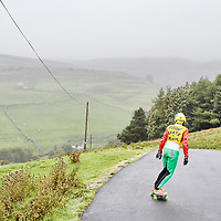 A photograph of a skateboarder in the Yorkshire Dales, England.