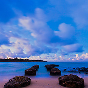 Twilight at Anahola Beach park - Kauai.