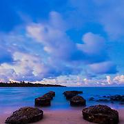 Twilight at Anahola Beach park - Kauai.
